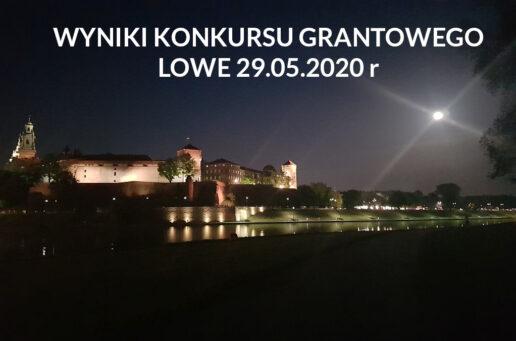 WYNIKI KONKURSU GRANTOWEGO LOWE – 29.05.2020