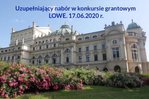 Uzupełniający nabór w konkursie grantowym LOWE. 17.06.2020 r.